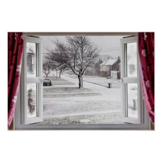 Beautiful frozen lake scene through an open window poster
