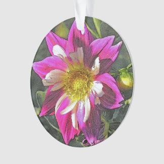 """Beautiful Fuchsia And White Dahlia"""" Ornament"""