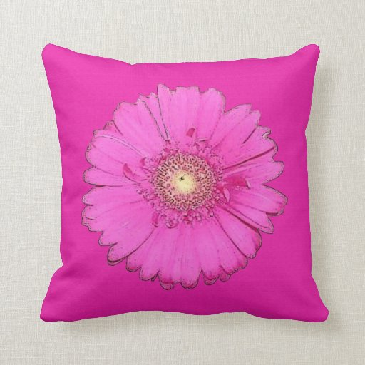 Beautiful Fuchsia Gerbera Daisy Pillow
