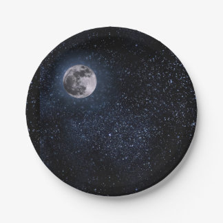 Beautiful Full Moon and Stars Paper Plate