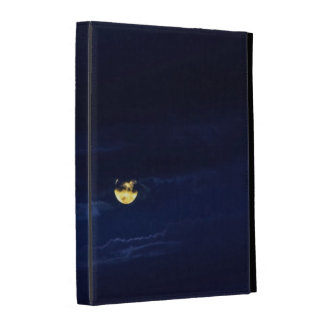 Beautiful Full Moon in Midnight Blue Clouds iPad Folio Cases
