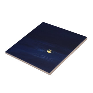 Beautiful Full Moon in Midnight Blue Clouds Tiles