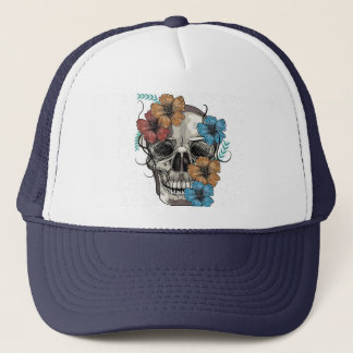 Beautiful funny dead Mexican Women head Skull Trucker Hat