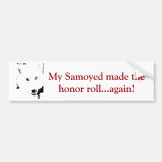 Beautiful furry Samoyed white dog Bumper Sticker