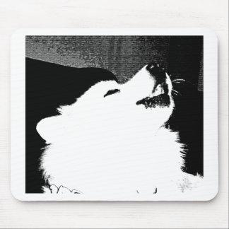 Beautiful furry Samoyed white dog Mouse Pad