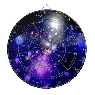 Beautiful galaxy dartboard with darts