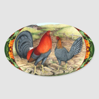 Beautiful Game Fowl Oval Sticker