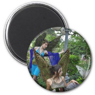 Beautiful Garden Fairies Round Magnet