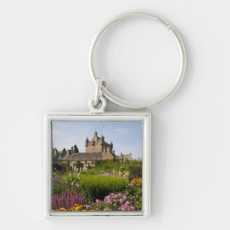 Beautiful gardens and famous castle in Scotland Keychain