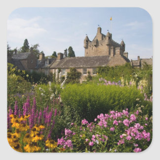 Beautiful gardens and famous castle in square sticker