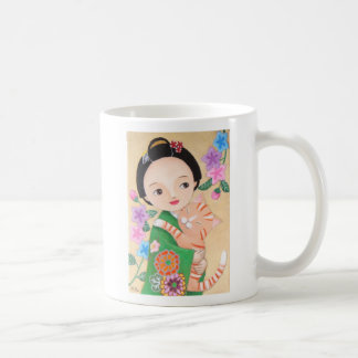 Beautiful Geisha Girl and Cat Mug