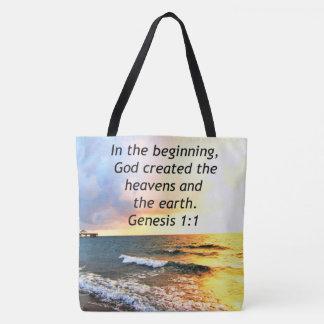 BEAUTIFUL GENESIS 1:1 BIBLE QUOTE DESIGN TOTE BAG