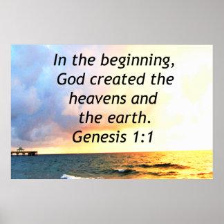 BEAUTIFUL GENESIS 1:1 BIBLE QUOTE SUNRISE PHOTO POSTER
