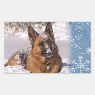 Beautiful  German Shepherd Dog in snow Rectangular Sticker