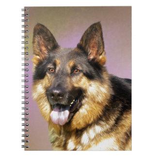 Beautiful German Shepherd dog portrait Spiral Notebooks