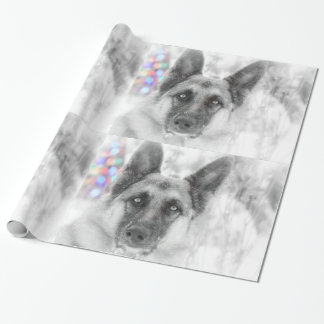 Beautiful German Shepherd Holiday Gift Wrap