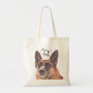 Beautiful German Shepherd in the Snow Tote Bag