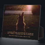 """Beautiful German Shepherd Pet Memorial Plaque<br><div class=""""desc"""">A memorial to our pets who are gone from this earth but alive in our hearts. A gorgeous German Shepherd Dog sits at attention, staring off into the distance. Up against a dramatic, sunset background, it makes a stunning tribute. A wonderful remembrance gift for that special person who lost that...</div>"""