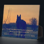 """Beautiful German Shepherd Pet Memorial Plaque<br><div class=""""desc"""">A memorial to our pets who are gone from this earth but alive in our hearts. A gorgeous German Shepherd Dog stands at attention, staring off into the distance. Up against a dramatic, sunset background, it makes a stunning tribute. A wonderful remembrance gift for that special person who lost that...</div>"""