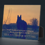 "Beautiful German Shepherd Pet Memorial Plaque<br><div class=""desc"">A memorial to our pets who are gone from this earth but alive in our hearts. A gorgeous German Shepherd Dog stands at attention, staring off into the distance. Up against a dramatic, sunset background, it makes a stunning tribute. A wonderful remembrance gift for that special person who lost that...</div>"