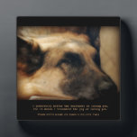 "Beautiful German Shepherd Pet Memorial Plaque<br><div class=""desc"">A memorial to our pets who are gone from this earth but alive in our hearts. A gorgeous German Shepherd Dog lays sleeping. Up against a dramatic, black background, it makes a stunning tribute. A wonderful remembrance gift for that special person who lost that special pet. Keep the plaque as...</div>"