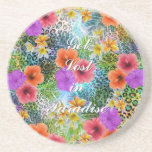 """Beautiful """"Get lost in Paradise"""" custom quote Beverage Coasters"""