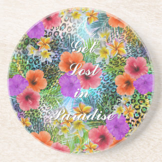 "Beautiful ""Get lost in Paradise"" custom quote Coasters"