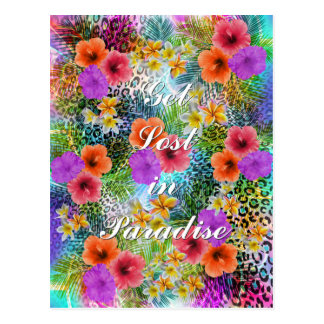 "Beautiful ""Get lost in Paradise"" custom quote Postcard"