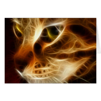 Beautiful Ghostly Fire Cat Greeting Cards
