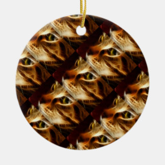 Beautiful Ghostly Fire Cat Christmas Ornaments
