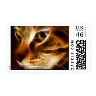 Beautiful Ghostly Fire Cat Postage Stamps