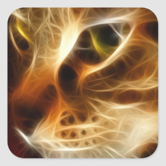 Beautiful Ghostly Fire Cat Square Sticker
