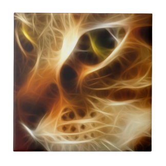 Beautiful Ghostly Fire Cat Tile