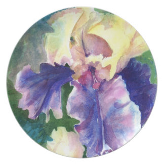 Beautiful Giant Iris Watercolor Party Plates