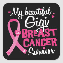 Beautiful Gigi Great Grandma Breast Cancer Square Sticker