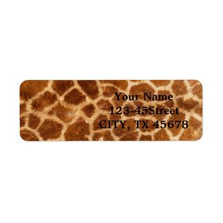 Beautiful Giraffe Print Return Address Labels