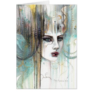 Beautiful Girl Abstract Fantasy Watercolor Art Card
