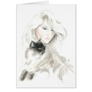 Beautiful Girl and Catl Cards