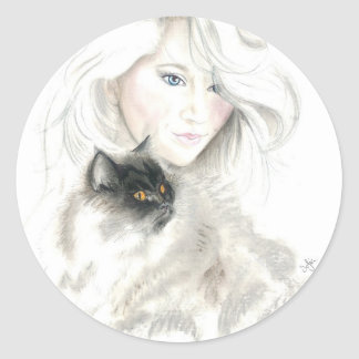 Beautiful Girl and Catl Stickers