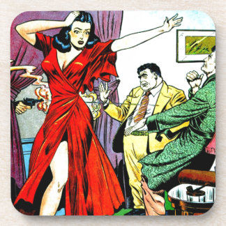 Beautiful Girl and Wise Guys Comic Beverage Coaster