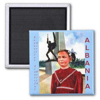 Beautiful Girl, Beautiful World, Albania 2 Inch Square Magnet