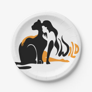 Beautiful girl, big black cat Panther illustration Paper Plate