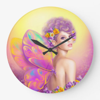 Beautiful girl fairy butterfly large clock