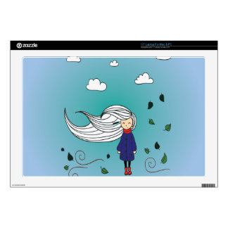 Beautiful girl in autumn days. skins for laptops