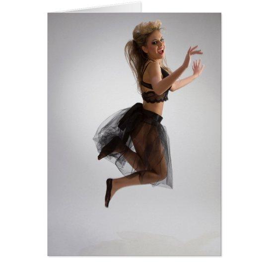 Beautiful girl in diaphanous skirt card