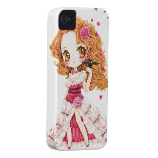 Beautiful girl in rose dress and cute bat iPhone 4 case