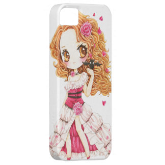 Beautiful girl in rose dress and cute bat iPhone SE/5/5s case
