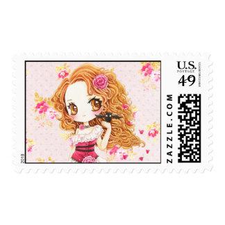 Beautiful girl in rose dress and cute bat stamp