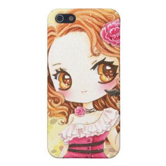 Beautiful girl in rose dress with cute bat iphone 5 case