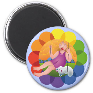 Beautiful girl in swing and its bear 2 inch round magnet